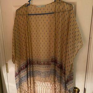 Patterned Kimono with Fringe